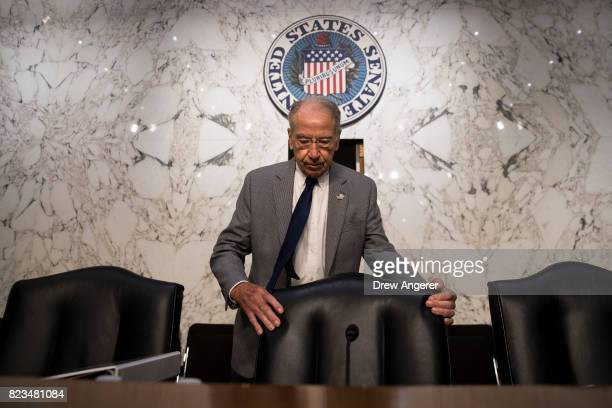 Committee chairman Sen Chuck Grassley arrives for a Senate Judiciary Committee hearing titled 'Oversight of the Foreign Agents Registration Act and...