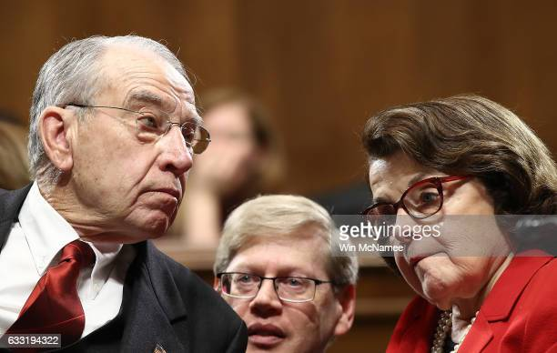 Committee Chairman Sen Chuck Grassley confers with ranking member Sen Dianne Feinstein during the Senate Judiciary Committee's 'markup' on the...