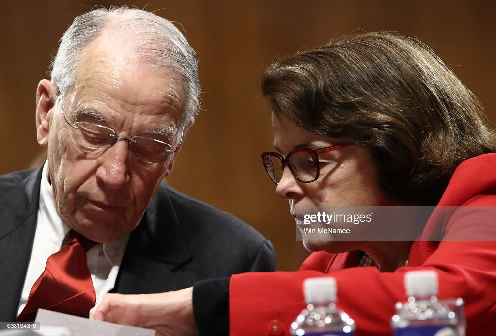 Committee Chairman Sen. Chuck Grassley (L) (R-IA) confers with ranking member Sen. Dianne Feinstein (R) (D-CA) during the Senate Judiciary Committee's 'markup' on the nomination of Sen. Jeff Sessions to be the next Attorney General of the U.S. January 31, 2017 in Washington, DC. The nomination of Sessions to be the next Attorney General has been complicated by the recent firing of Acting Attorney General Sally Yates by U.S. President Donald Trump.