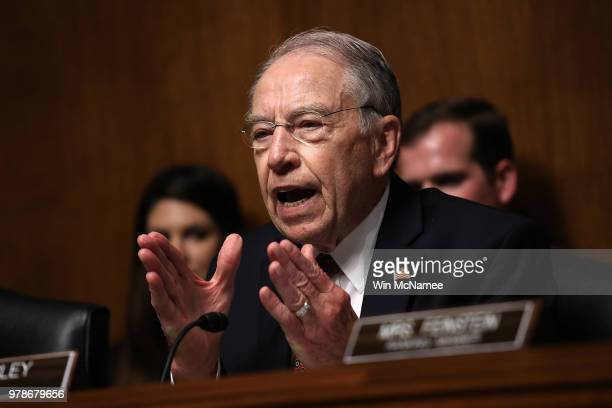 Committee Chairman Sen. Chuck Grassley delivers heated opening remarks during a Senate Judiciary Committee hearing featuring U.S. Citizenship and...