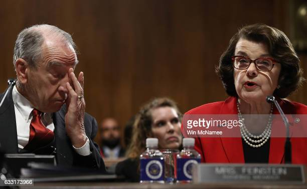 Committee Chairman Sen Chuck Grassley listens as ranking member Sen Dianne Feinstein delivers remarks during the Senate Judiciary Committee's...