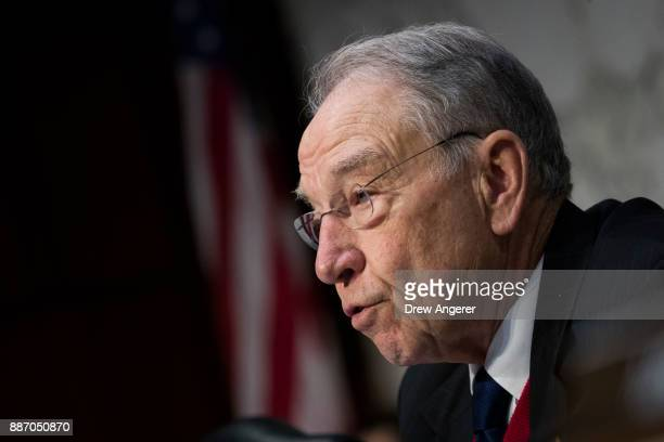 Committee chairman Sen Chuck Grassley questions witnesses during a Senate Judiciary Committee hearing concerning firearm accessory regulation and...