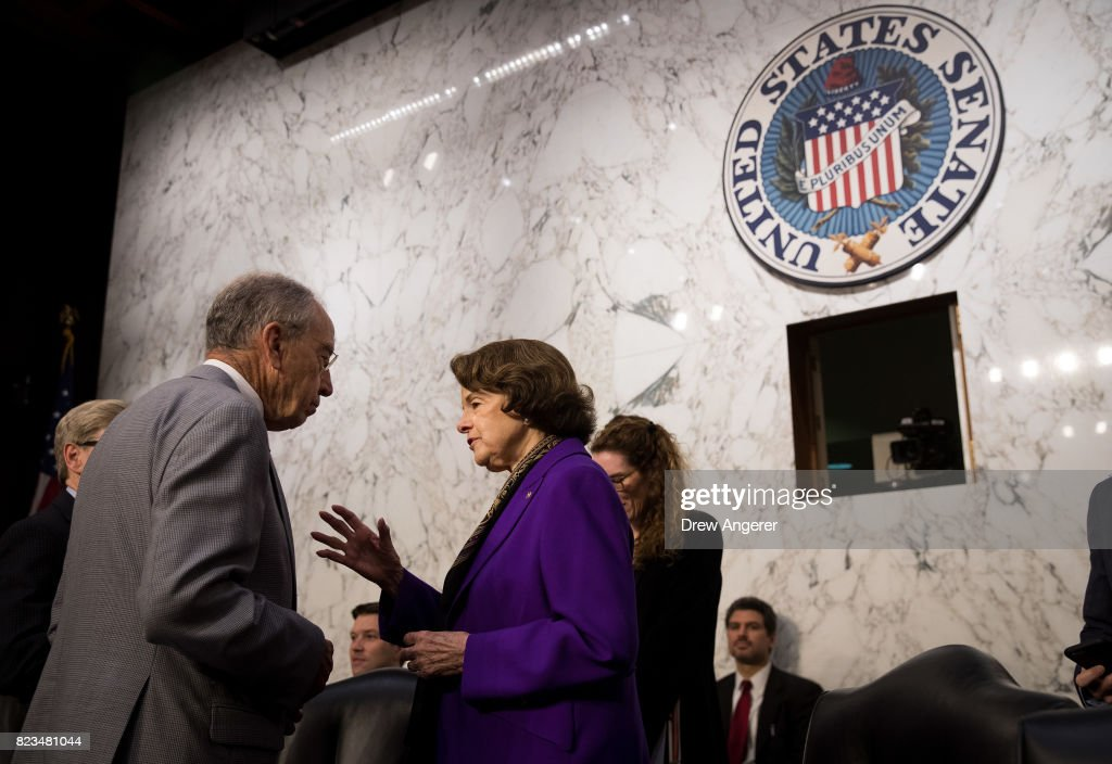 Committee chairman Sen. Chuck Grassley (R-IA) speaks with ranking member Sen. Dianne Feinstein (D-CA) before the start of a Senate Judiciary Committee hearing titled 'Oversight of the Foreign Agents Registration Act and Attempts to Influence U.S. Elections' in the Hart Senate Office Building on Capitol Hill, July 27, 2017 in Washington, DC. On Tuesday, the committee withdrew its subpoena for former Trump campaign chairman Paul Manafort as he agreed to turn over documents and continue negotiating about being interviewed by the committee.