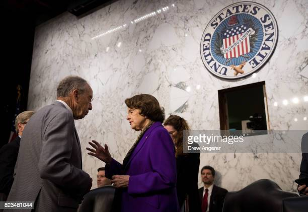 Committee chairman Sen Chuck Grassley speaks with ranking member Sen Dianne Feinstein before the start of a Senate Judiciary Committee hearing titled...