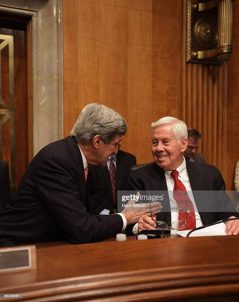 Committee Chairman Sen. John Kerry (D-MA) (L) and Sen. Richard Lugar (R-IN) participate in the Senate Foreign Relations Committee hearing on Capitol Hill on March 5, 2009 in Washington, DC. The SFRC committee is hearing testimony on the United States' strategy in dealing with Iran and reports on their nuclear program.