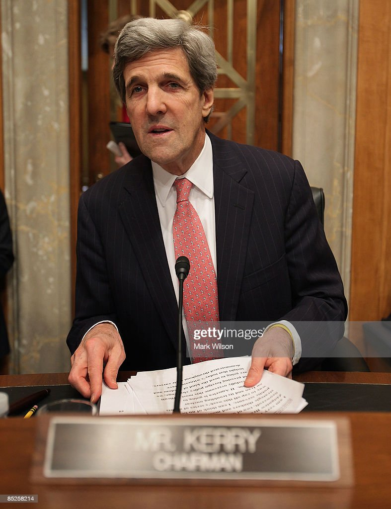 Committee Chairman Sen. John Kerry (D-MA) participates in the Senate Foreign Relations Committee hearing on Capitol Hill on March 5, 2009 in Washington, DC. The SFRC committee is hearing testimony on the United States' strategy in dealing with Iran and reports on their nuclear program.