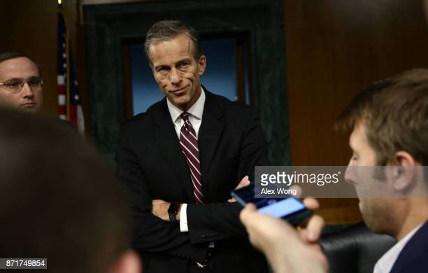 Committee Chairman Sen. John Thune talks to reporters after a hearing before Senate Commerce, Science and Transportation Committee November 8, 2017...