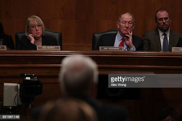 Committee chairman Sen Lamar Alexander and ranking member Sen Patty Murray listen during a confirmation hearing of Health and Human Services...