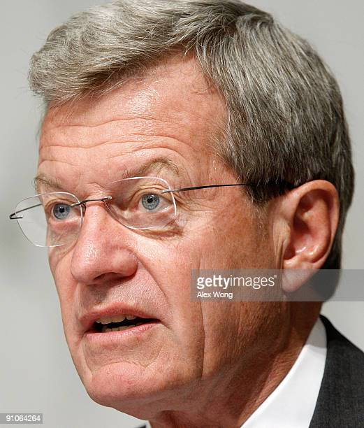 Committee Chairman Sen Max Baucus speaks during a mark up hearing before the US Senate Finance Committee on Capitol Hill September 23 2009 in...