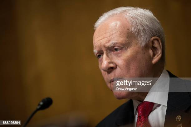 Committee chairman Sen Orrin Hatch questions Secretary of Treasury Steve Mnuchin during a Senate Finance Committee hearing concerning fiscal year...