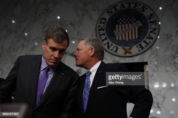 Committee Chairman Sen Richard Burr and committee Vice Chairman Sen Mark Warner wait for the beginning of a confirmation hearing for CIA Director...
