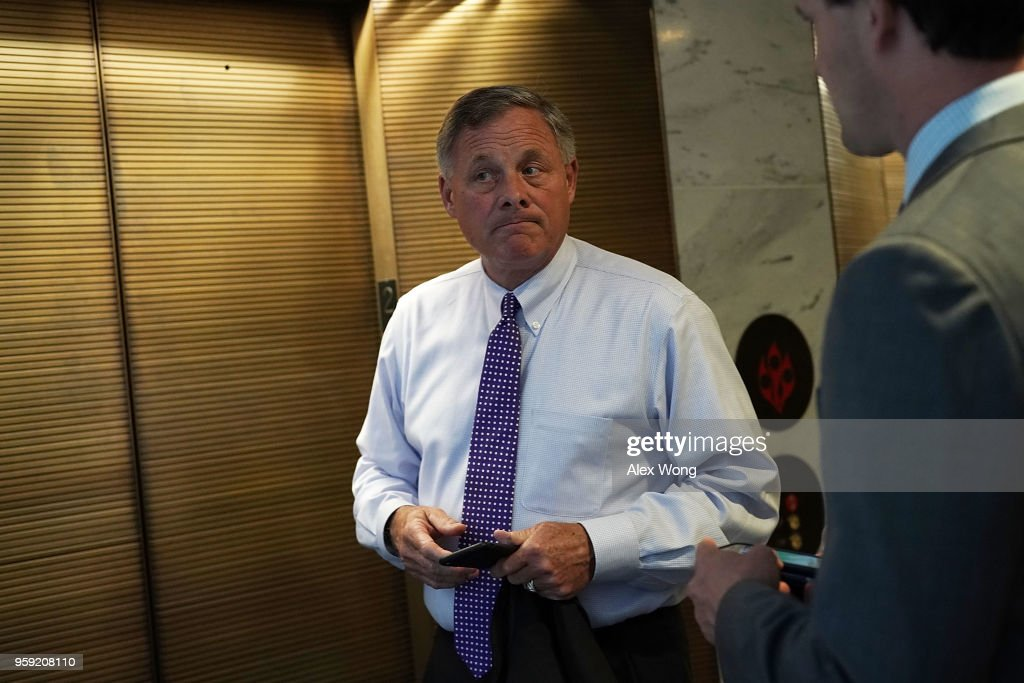 Committee Chairman Sen. Richard Burr (R-NC) leaves after a closed hearing before the Senate (Select) Intelligence Committee May 16, 2018 on Capitol Hill in Washington, DC. The committee held a hearing titled, 'Evaluating the January 2017 Intelligence Community Assessment on Russian Activities and Intentions in Recent Elections.'