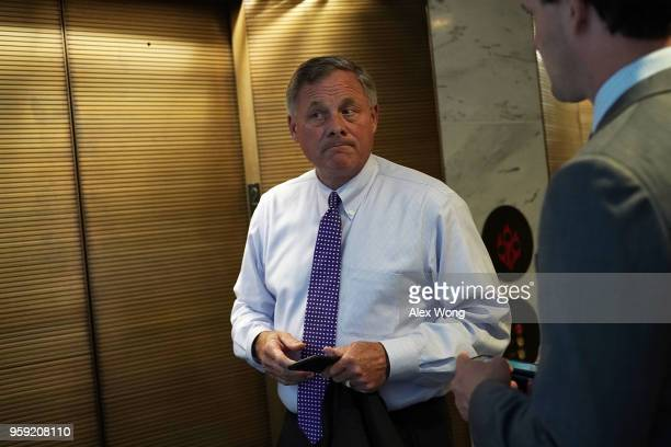 Committee Chairman Sen Richard Burr leaves after a closed hearing before the Senate Intelligence Committee May 16 2018 on Capitol Hill in Washington...