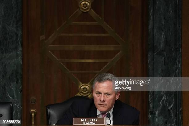 Committee Chairman Sen Richard Burr listens during a hearing before Senate Intelligence Committee March 7 2018 on Capitol Hill in Washington DC The...