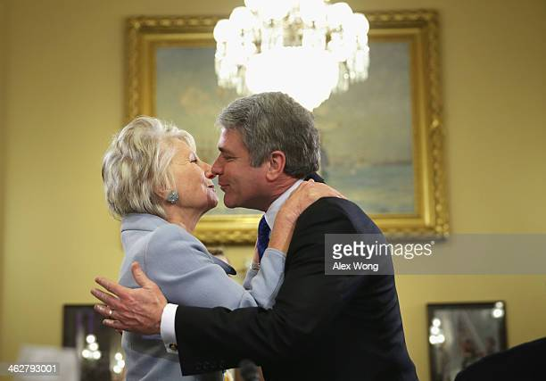 Committee Chairman US Rep Michael McCaul greets former Rep Jane Harman director of the Woodrow Wilson Center prior to a hearing before the House...