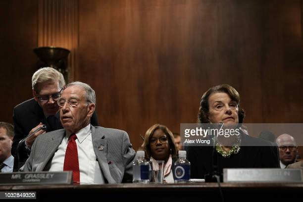 Committee Chairman US Sen Chuck Grassley and ranking member Sen Dianne Feinstein participate in a markup hearing before the Senate Judiciary...