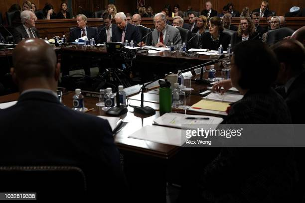 Committee Chairman US Sen Chuck Grassley ranking member Sen Dianne Feinstein and other committee members participate in a markup hearing before the...