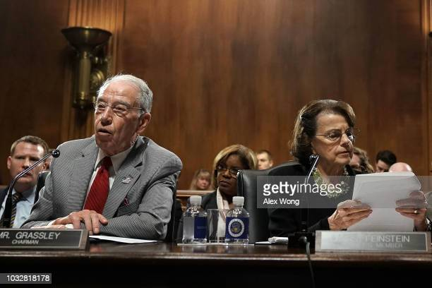 Committee Chairman US Sen Chuck Grassley speaks as ranking member Sen Dianne Feinstein listens during a markup hearing before the Senate Judiciary...