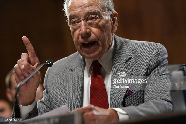 Committee Chairman US Sen Chuck Grassley speaks during a markup hearing before the Senate Judiciary Committee September 13 2018 on Capitol Hill in...