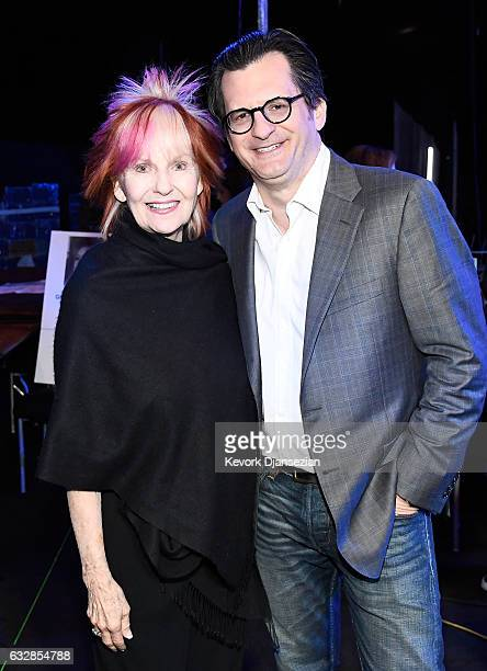 SAG committee member Shelley Fabares and TCM host Ben Mankiewicz attend the Red Carpet RollOut Ceremony BTS during The 23rd Annual Screen Actors...