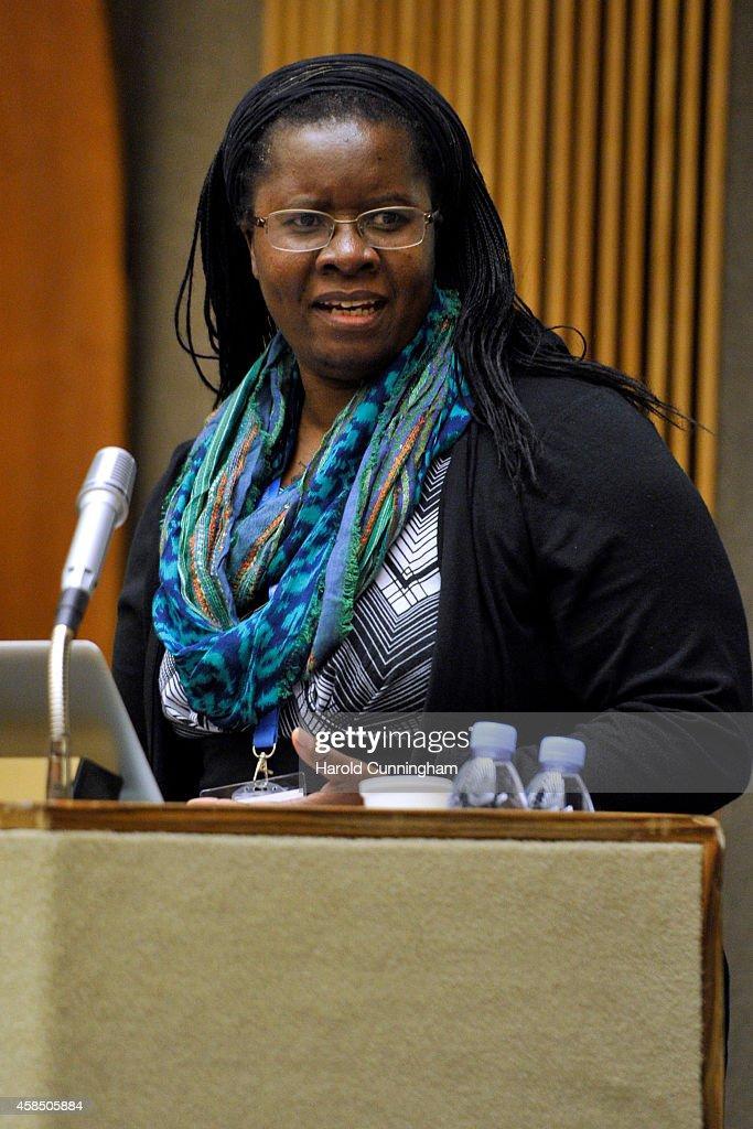 Committee on the Status of Women President Nyaradzayi Gumbonzvanda speaks during the regional review meeting of the status of women in the UNECE region 20 years after the Beijing platform for action held at the United Nations Office at Geneva on November 6, 2014 in Geneva, Switzerland.