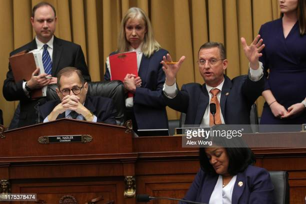 Committee ranking member Rep Doug Collins speaks as Chairman Rep Jerry Nadler listens during a hearing before the House Judiciary Committee in the...