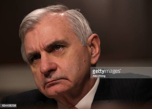 Committee ranking member Sen Jack Reed listens during a hearing before Senate Armed Services Committee February 9 2017 on Capitol Hill in Washington...