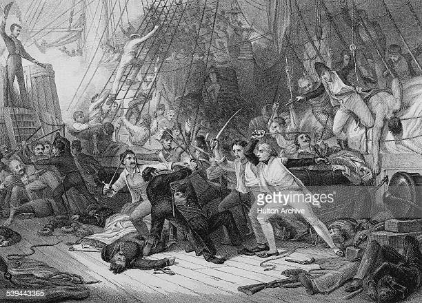 Commodore Horatio Nelson boarding the Spanish first rate ship of the line the San Jose at the Battle Cape St Vincent where a British fleet under...