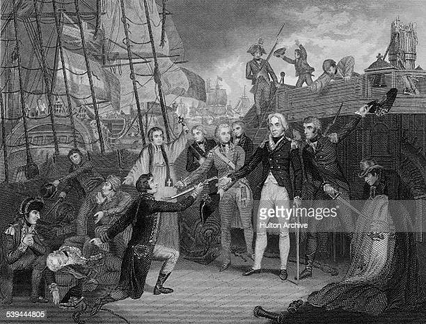 Commodore Horatio Nelson receives the sword of surrender from the after boarding the Spanish first rate ship of the line the San Jose at the Battle...