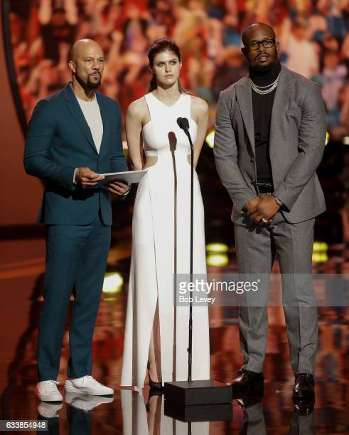 Common Alexandra Daddario and Von Miller present the AP Offensive Player of the Year presented by Microsoft to Matt Ryan of the Atlanta Falcons...