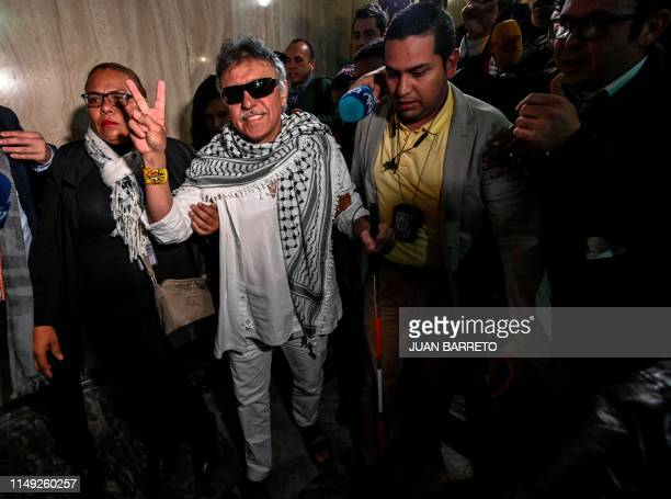 Common Alternative Revolutionary Force party member Jesus Santrich wanted by the United States for drugtrafficking flashes the Victory sign after...