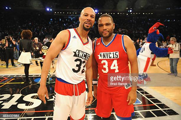 Common and Anthony Anderson attend the NBA AllStar Celebrity Game NBA All Star Weekend 2015 on February 13 2015 in New York City