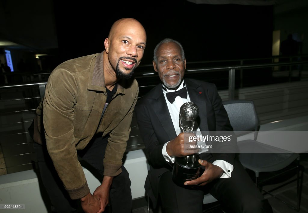 Common (L) and Danny Glover, recipient of the NAACP President's Award, attend the 49th NAACP Image Awards at Pasadena Civic Auditorium on January 15, 2018 in Pasadena, California.