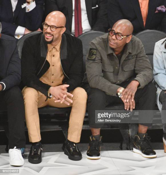 Common and Dave Chappelle attend the NBA AllStar Game 2018 at Staples Center on February 18 2018 in Los Angeles California