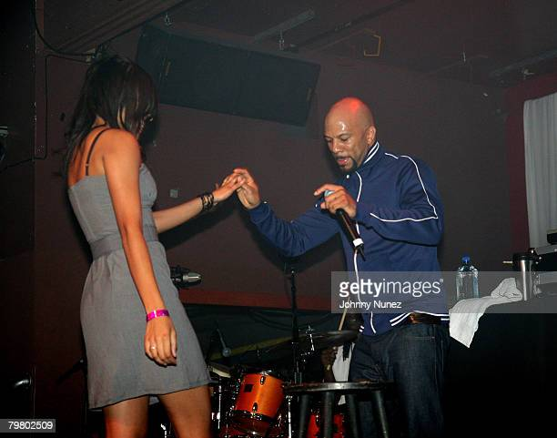 Common and guest perform at the 2008 NBA AllStar in New Orleans ESPN The Magazine's Chicken `N' Waffles event at Harrah's Hotel February 16 2008 in...