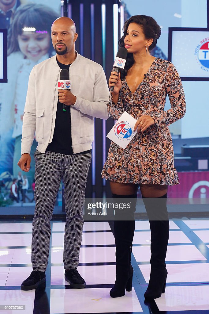 Common (L) and host Nessa speak on MTV Total Registration Live at MTV Studios on September 27, 2016 in New York City.
