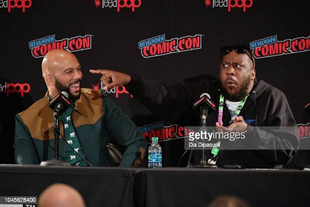 "Common and Robert Glasper speak onstage at the Webtoon Presents ""Caster"" featuring Common panel during New York Comic Con 2018 at Jacob K Javits..."