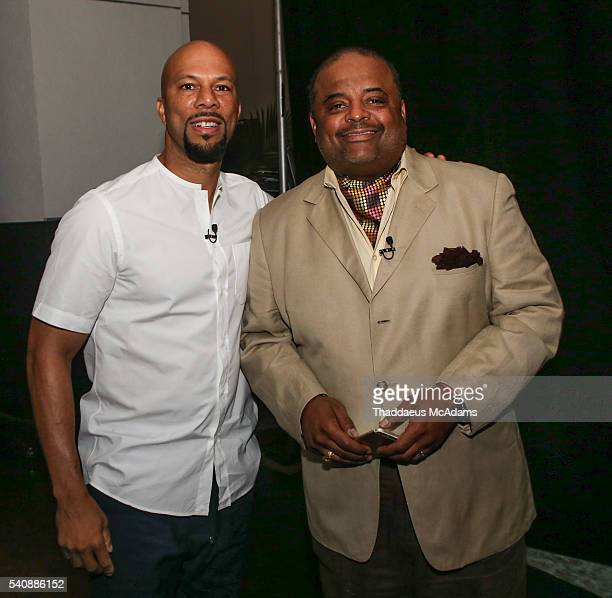 Common and Roland Martin backstage during the American Black Film Festival on June 18 2016 in Miami Beach Florida