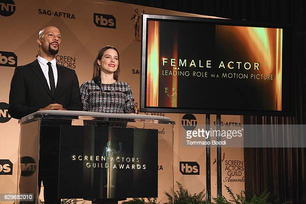 Common and Sophia Bush attend the 23rd Annual SAG Awards Nominations Announcement at Pacific Design Center on December 14, 2016 in West Hollywood,...
