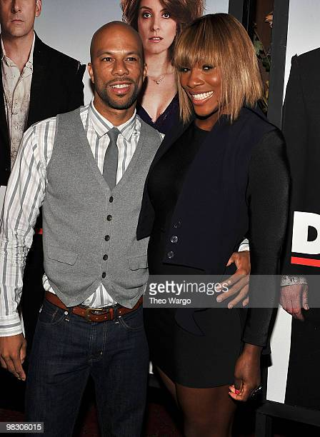 """Common and tennis player Serena Williams attends the premiere of """"Date Night"""" at Ziegfeld Theatre on April 6, 2010 in New York City."""