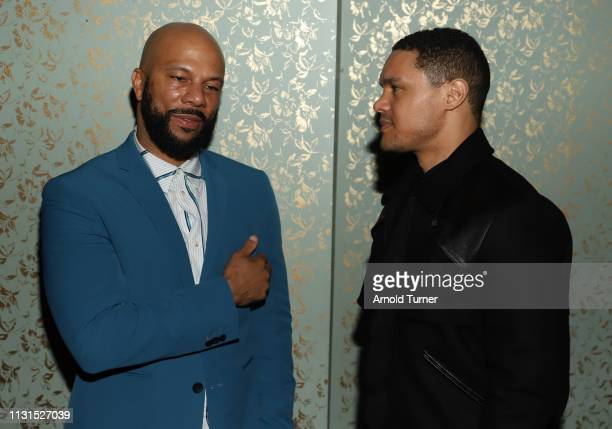 Common and Trevor Noah speak during Common's 5th Annual Toast to the Arts at Ysabel on February 22 2019 in West Hollywood California