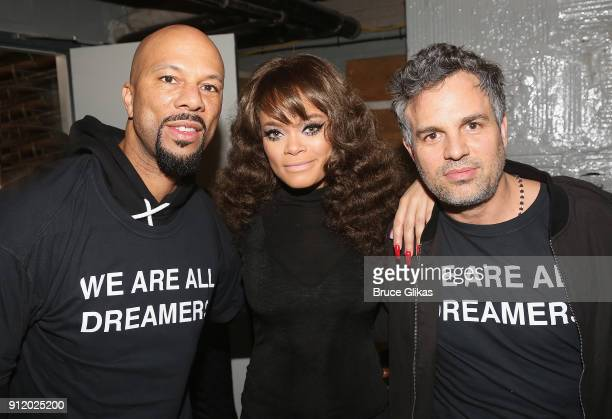 Common Andra Day and Mark Ruffalo pose backstage at 'The People's State Of The Union' at Town Hall on January 29 2018 in New York City