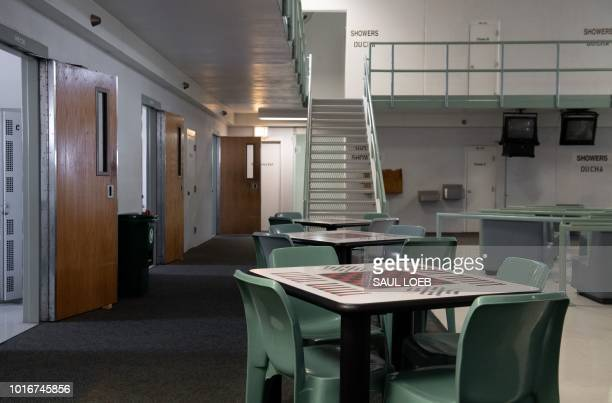 A common area and cell room doors are seen inside the Caroline Detention Facility in Bowling Green Virginia on August 13 2018 A former regional jail...