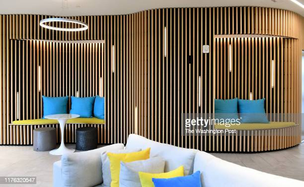 Common areas at the luxury apartment building have lots of seating areas and make use of the interesting angles of the building August 15, 2019 in...