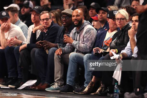 Common attends game three of Round One of the 2019 NBA Playoffs between the Brooklyn Nets and the Philadelphia 76ers at Barclays Center on April 18...