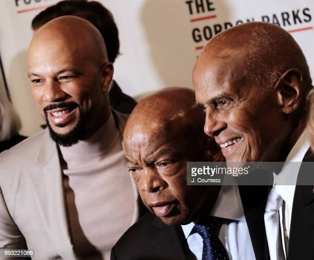 Common Congressman John Lewis and Harry Belafonte attend the 2017 Gordon Parks Foundation Awards Gala at Cipriani 42nd Street on June 6 2017 in New...