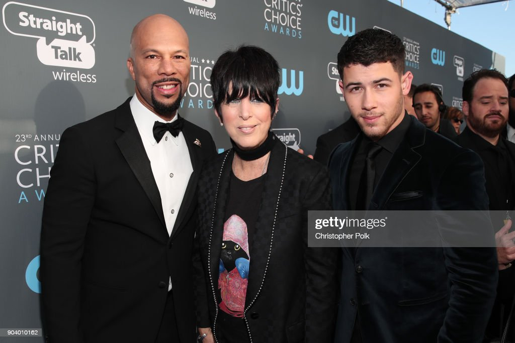 Common, Diane Warren, and Nick Jonas attend The 23rd Annual Critics' Choice Awards at Barker Hangar on January 11, 2018 in Santa Monica, California.