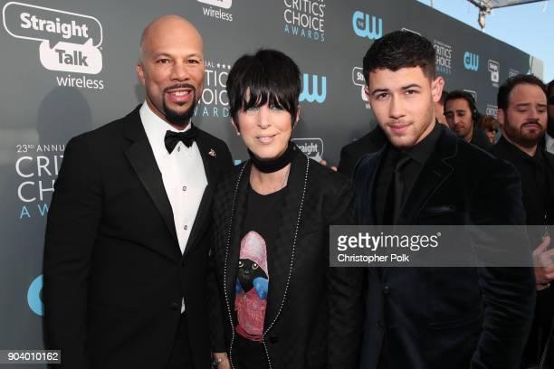 Common Diane Warren and Nick Jonas attend The 23rd Annual Critics' Choice Awards at Barker Hangar on January 11 2018 in Santa Monica California