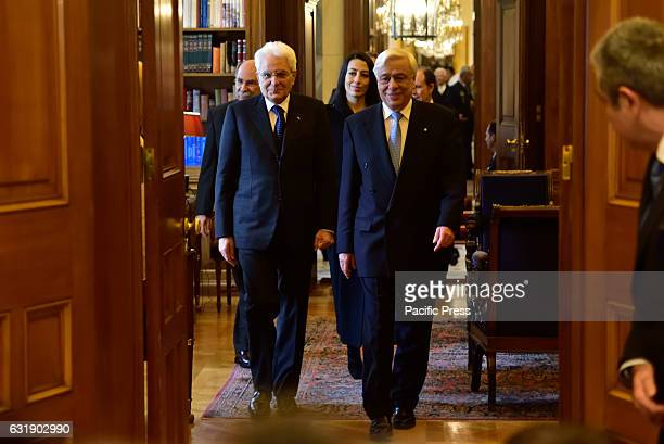 Common entrance of President of Italy Sergio Mattarella and President of Hellenic Republic Prokopis Pavlopoulos to the office of Greek President