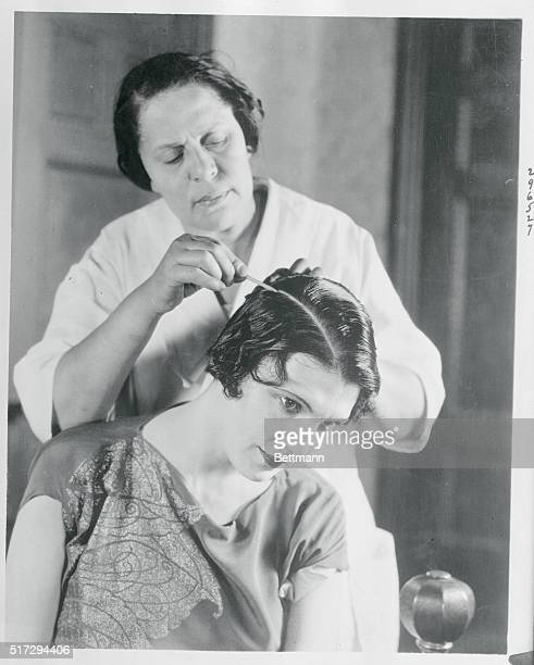 Common Garden Chalk Used by Movie Stars Culver City California Photo shows Leatrice Joy having her hair chalked by a maid Common chalk has been added...